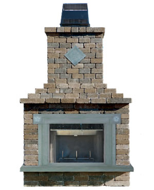 Complete with a square design Cast Stone Fireplace Surround full width hearth and 8 1/8\