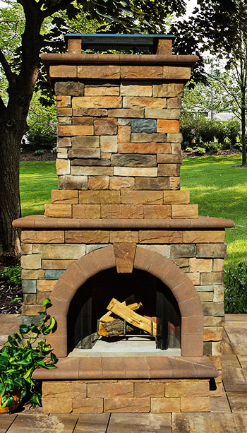 outside stone fireplace. Stone Veneer Outdoor Fireplace Fireplaces  Cambridge Pavingstones Living Solutions with