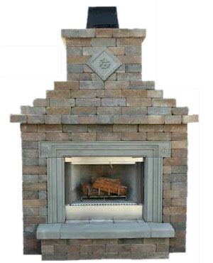 Cambridge Pre Cut Packaged Olde English Wall Fireplace Kit With Cast Stone Surround Complete A Square Design