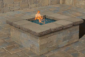 Pre Packaged Cambridge Olde English Square Gas Fire Pit Kit