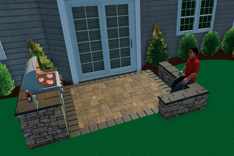 DESIGN IT - 10 x 10 Paver Patio with Pre-Packaged Grill Kit