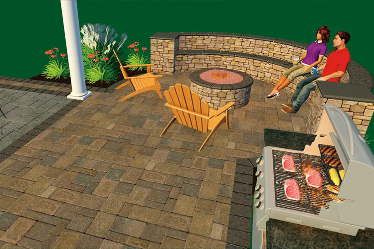 BUILD IT - Add on 100 square foot Paver Patio Extension with Fire Pit Kit and Radius Seating Wall